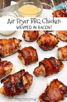 Air Fryer BBQ Chicken wrapped in bacon and sweetened with a little sprinkle of brown sugar bakes up fast, and crispy. Perfect for dinner or snacking from Walking on Sunshine Recipes. Air Frier Recipes, Air Fryer Oven Recipes, Air Fryer Dinner Recipes, Air Fryer Chicken Recipes, Fast Chicken Recipes Easy, Air Fryer Rotisserie Recipes, Frozen Chicken Recipes, Bbq Chicken Wraps, Barbecue Chicken