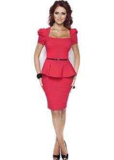 Dress Audrey Peplum Detail Pencil Midi Belted Red Dress