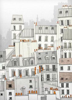 Paris, Montmartre - Paris illustration Paris Art Prints Posters Home decor Wall decor Gift ideas for her Modern Architectural drawing White Art And Illustration, Illustration Parisienne, Illustrations, Montmartre Paris, Paris Kunst, Paris Art, Paris Decor, Sketchbook Architecture, Architecture Panel
