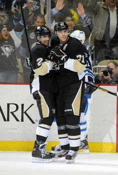 So much good in this photo. Niskanen and Geno dancing?! And Geno is serious about his moves! Winnipeg Jets at Pittsburgh Penguins 03/28/2013