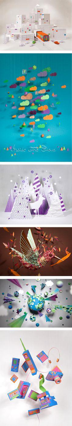 El diseño en papel de Zim    Duo de diseñadores franceses cuyo estudio realiza diseño gráfico e ilustraciones, prefieren crear objetos reales o esculturas de papel y luego tomarle fotos.
