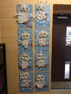 Best 12 Art video for kids to teach them how to draw, paint and – SkillOfKing. Winter Art Projects, School Art Projects, Owl Crafts, Animal Crafts, Kindergarten Art, Preschool Art, Club D'art, Classe D'art, Paper Owls