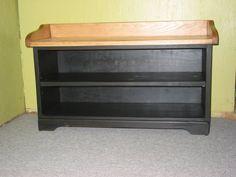 Black Shoe Bench.Entry Bench .Wooden Bench by HarvestTreasuresInc, $180.00