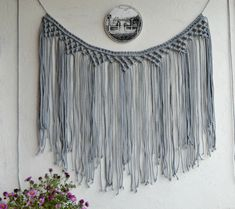 Macrame curtain Macrame wall hanging Macrame wall art Bohemian wall hanging Banner Boho decor Backdrop Macrame garland Grey cotton cord