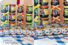 Jessica Bender Photography    Super Hero Baby Shower games, favours. Jam, baby food tasting.
