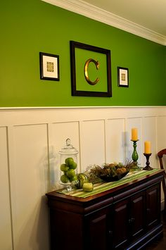 Perfect green plus wainscoting. Perfect green plus wainscoting. Perfect green plus wainscoting. Living Dining Room, Batten Diy, Wainscoting Kitchen, Wainscoting Bedroom, Wainscoting Stairs, Home Decor, Wainscoting Height, Home Diy, Dining Room Wainscoting