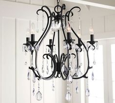 Beautifully balancing rustic elements with a refined look, our Celeste Chandelier features faceted jewels that hang from wrought-iron swirls. Pottery Barn Chandelier, Chandelier Bedroom, Dining Area, Dining Room, Tuscan Bedroom, Grand Entryway, Rectangular Chandelier, Foyer Lighting, Room Planner