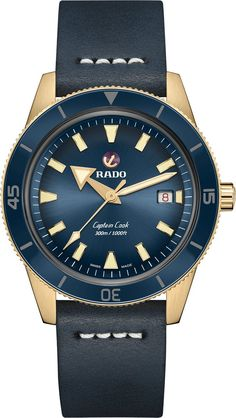 Rado Watch Captain Cook Bronze- Watch Available to buy online. Vintage Dive Watches, Swiss Watch Brands, Rado, Luxury Watches For Men, Metal Bracelets, Leather Case, Cook, Bronze Age, Modern Materials