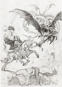 """Simon Bisley Simon Bisley's Illustrations From the Bible: a Work in Progress Preliminary Original Art (1999). St. George readys himself to slay the fearful dragon in this study in pencil. It was done for the section of Bisley's Illustrations From the Bible book subtitled """"Saints and Warriors: Saint George."""" Very nicely detailed, and extremely powerful. Graphite on paper measuring 8.25"""" x 11.5""""; in Excellent condition."""