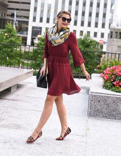 Nothing completes your fall style like a burgundy bell sleeve dress. This comfortable and flattering fit is $60 and can be styled for work or the weekend! Visions of Vogue blog
