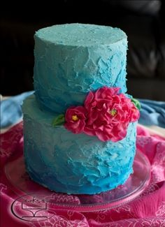 Turquoise and hot pink cake By KC Cakes on CakeCentral.com