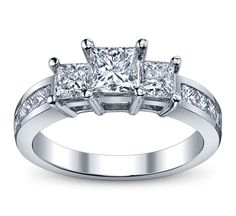 Three Stone Princess Diamond Channel Set Diamond Engagement Ring 1.00 tcw. In 14K White Gold