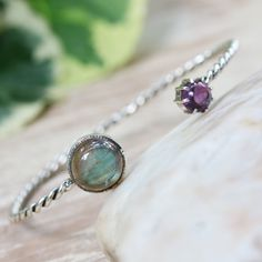 Round labradorite and tiny amethyst gemstones cuff bracelet with sterling silver twist band