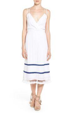 NWT ELLA MOSS TAMANI Tassel Hem White Gauze Dress with Blue Embroidery Trim Med #EllaMoss #Sundress #anthropologie #summerdress
