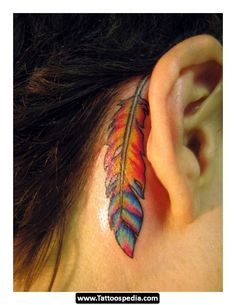 Behind The Ear Feather Tattoos 02  - http://tattoospedia.com/behind-the-ear-feather-tattoos-02/