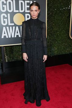Best Dressed at the Golden Globes 2018: All the Stars in Black - Alicia Vikander in Louis Vuitton