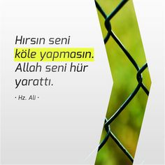 Hırsın seni köle yapmasın. Allah seni hür yarattı. • Hz. Ali • Ali Islam, Ali Quotes, Islamic Quotes, Motto, Allah, Verses, Blog, Inner Peace, Poems