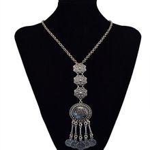 Más oscuro 1 unid boho étnico monedas talla las borlas del collar pendiente plateado largo vintage cadenas del suéter para mujer joyas colar(China (Mainland))