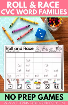 Roll and Race is a fun way for you students to practice reading, spelling, and writing CVC word families. This resource includes 21 no prep Roll and Race games. These games are great for morning tubs, homework, sub tubs, time fillers, or literacy centers.