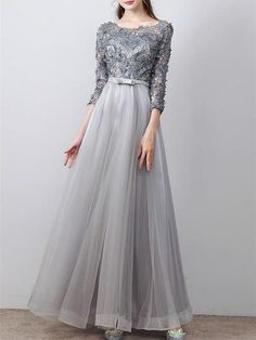 A-line Princess Scoop Neck Long Sleeve Appliques Long Prom Dresses, How about is the dress? a line tulle appliques scoop neck sleeveless Natural length: floor length Details: Lined zipper : Yes Bra: Yes yes Color: gray How long can be delivery? Trendy Dresses, Simple Dresses, Nice Dresses, Fashion Dresses, Hijab Prom Dress, Prom Dresses, Formal Dresses, Dress Brokat, Kebaya Dress
