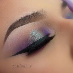 Purple and green smokey eyes