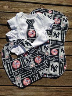 Yankees Baby Bodysuit Bib Burp Cloth Set - New York Yankees Gift Set - Yankees Baseball Baby Outfit by BrikayDesigns on Etsy