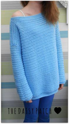 Oversized single crochet sweater with dk wool