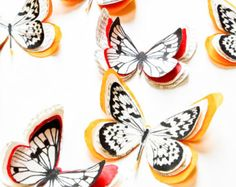 Orange paper butterflies, red butterflies, butterfly wall decor, decorative butterflies