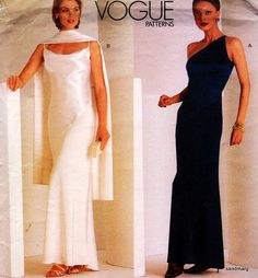 Vogue 2042 Tom and Linda Platt Bias Cut Formal Evening Wedding Dress Sewing Pattern Size 12-14-16 Uncut