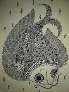 Doodle Art Drawing, Dark Art Drawings, Art Drawings Sketches Simple, Zentangle Drawings, Mandala Drawing, Zentangles, Mandala Art Lesson, Mandala Artwork, Madhubani Art