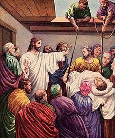 Der Herr hilft uns, aber wir müssen zunächst das tun, was wir selber können - die Männer brachten den Lahmen auf das Dach, ließen ihn hinunter und dann heilte Jesus ihn!
