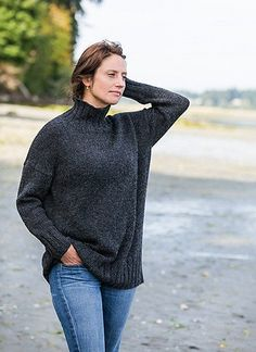 Here's a pattern for the simple sweater you'd be willing to buy, if only you could find it. The fit is easy, styling simple, fabric relaxed and the details just right. Only this is better because you can customize the style and fit. The pattern is shown i