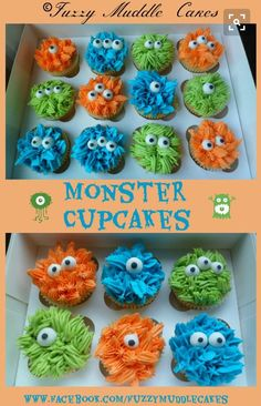 Monster cupcakes for B's Halloween Party at school. Give some horns with candy corn, and maybe some mouths and teeth. Monster 1st Birthdays, Monster Birthday Parties, Birthday Bash, First Birthday Parties, First Birthdays, 1st Birthday Party Ideas For Boys, Monster Party, Monster Cupcakes, Boys Cupcakes