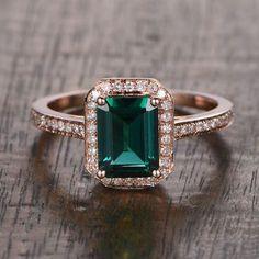 6x8mm Lab Emerald Engagement ring Rose gold,Diamond wedding band,14k,Emerald Cut Treated,Green Gemstone Promise Ring,Bridal,Halo pave set