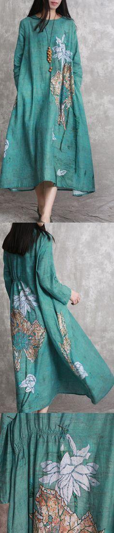 2018 green prints linen dresses plus size
