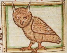 Bird detail from medieval illuminated manuscript, British Library Harley MS 3244, 1236-c 1250, f54v