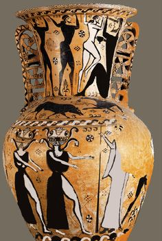 A child was buried in this Greek urn. The decoration on the outside are from the Odyssey. Lotus flowers in rosettes and other forms, such as the sun symbols in the urn handles, represent eternal life for the child. The gorgons serve as a protectors in the afterlife. The diamond made of dots represents paradise. The black and white wavy line is the river Styx that the child will have to crossover to reach paradise. The feline is there to fight Cerberus, that guards the gates of the…