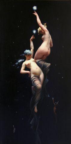"Luis Ricardo Falero, Moonlit Beauties, c. 1880. """