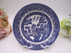 Churchill England Blue Willow Ware Round Cereal by SecondWindShop
