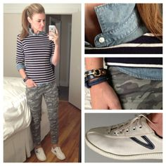 green pants, jean shirt, white & black striped shirt- Photo by karlareed | I like this so much...
