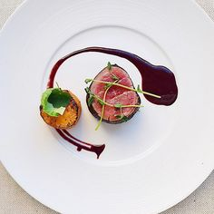 Gayle van Wely Quan  /// Espresso, Cocoa Crusted Beef Tenderloin, Peashouts and Herb Sweet Potato Fondant, with Cabernet Peppercorn Demi Glacé