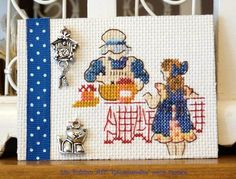 ATC Gourmandise pour France Cross Stitching, Cross Stitch Embroidery, Cross Stitch Patterns, Cross Stitch Kitchen, Mini Cross Stitch, Stitches Wow, Atc Cards, Creation Couture, Needlework