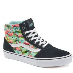 Vans Milton Women's High-Top Skate Shoes ($60) ❤ liked on Polyvore featuring shoes, sneakers, black flamingo print, high top shoes, black lace up shoes, black trainers, lace up sneakers and hi top skate shoes