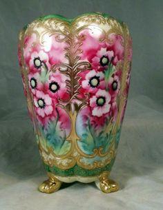 Handpainted Japanese Nippon Porcelain Vase Pink Red Flowers | eBay