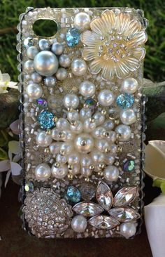 iPhone 4/4S Bling Case Sensational Silver and Pearl by Kianaskases