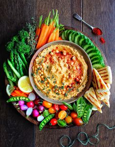 """""""Hummus is my go to snack, I love it, you can add so many flavours. This mix is one of my favourite combinations"""". """"Hummus is my go to snack, I love it, you can add so many flavours. This mix is one of my favourite combinations"""". Party Food Platters, Veggie Platters, Veggie Tray, Raw Food Recipes, Vegetarian Recipes, Cooking Recipes, Healthy Recipes, Food Tips, Vegetable Recipes"""