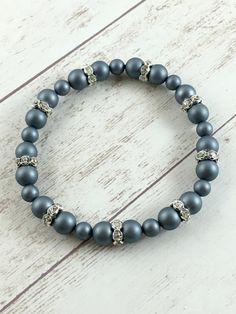 Blue Shell Pearl Bracelet - Shell Pearls Bracelet - Chic Bracelet - Blue Stretch Bracelet - Pearl Beaded Bracelet - Handmade Jewelry