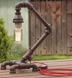 BORU DIZAYN MASA LAMBASI DORT AYAKLI - PIPE FITTING DESK LAMP EDISON LAMP AMPUL