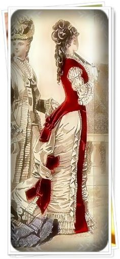 Red and Cream Victorian  Gown