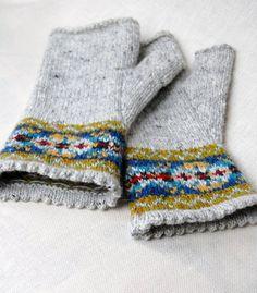 Knitting Pattern Fair Isle Fingerless Gloves by helengraydesigns